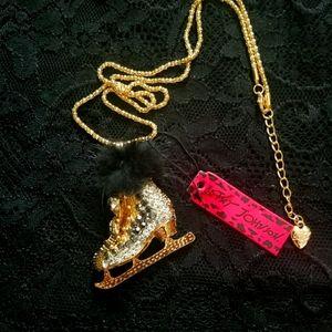 Betsey Johnson Fur Trimmed Skate Necklace